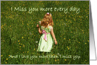 I miss you: Child in field of flowers card