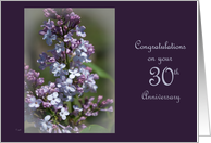 30th wedding anniversary: Lilac card