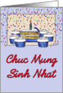 Cupcake Birthday-Vietnamese card