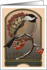 Chickadee and the Red Berries - Christmas card