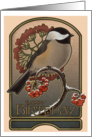 Chickadee and the Red Berries - Birthday card