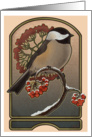 Chickadee and the Red Berries - Art Card