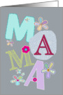 Mama, happy mother's day in Dutch, letters and flowers, grey card