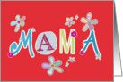 Mama, happy mother's day in Polish, letters and flowers, red card
