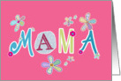Mama, happy mother's day in Polish, letters and flowers, pink card