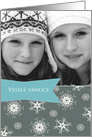 Merry Christmas in Czech, Customizable photo card, snowflakes card