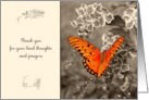Thank you for your kind thoughts and prayers, orange butterfly card
