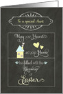 Happy Easter to my Aunt, Blessings, home & heart, chalkboard effect card