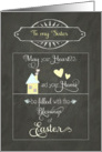 Happy Easter to my sister, heart and home, chalkboard effect card