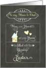 Happy Easter to my mom and dad, heart and home, chalkboard effect card