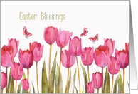 Easter Blessings, Scripture, Christian Card, tulips, painting card