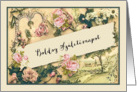 Happy Birthday in Hungarian, nostalgic vintage roses card