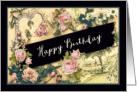 Happy Birthday, Irish Blessing, nostalgic vintage roses card