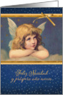 Merry Christmas in Spanish, vintage angel card
