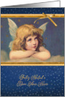 Merry Christmas in Portuguese, vintage angel card