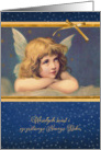 Merry Christmas in Polish, vintage angel card
