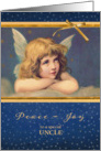 For Uncle, Peace-Joy, Christmas Card, vintage angel card
