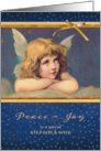 For Step Son and his Wife, Peace-Joy, Christmas Card, vintage angel card