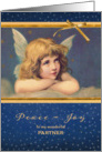 For wonderful partner, Christmas card, vintage angel card