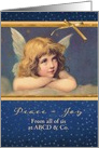 Custom personalized, Business Christmas card, vintage angel card