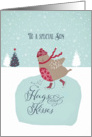 To my son, Christmas card, skating robin card