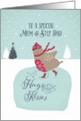 To a special mum and step dad, Christmas card, skating robin card