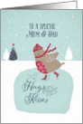 To a special mum and dad, Christmas card, skating robin card