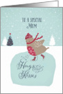 To a special mum, Christmas card, skating robin card