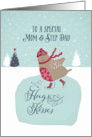 To a special mom and step dad, Christmas card, skating robin card