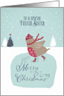 To my foster sister, Christmas card, skating robin card