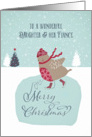 To my daughter and her fiance, Christmas card, skating robin card