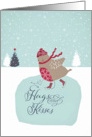 Hugs and Kisses, Christmas card, cute skating robin card