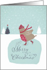 Merry Christmas, Business Christmas card, cute skating robin card