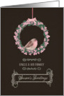 For uncle and his family, Season's Tweetings, robin and wreath card
