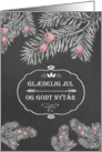 Merry Christmas in Danish, Yew Branches, Chalkboard effect card