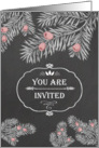 You are invited, Christmas Brunch, Yew Branches, Chalkboard effect card