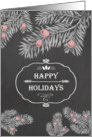 Happy Holidays, Yew branches, Chalkboard effect card