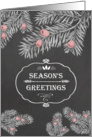 Season's Greetings, Yew branches, Chalkboard effect card