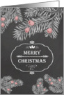 Merry Christmas, Yew branches, Chalkboard effect card
