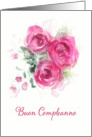 Happy Birthday in Italian, Buon Compleanno, Watercolor Roses card