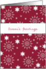 Season's Greetings, business Christmas card, snowflake, red card