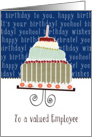 to a valued employee, business happy birthday card, cake & candle card