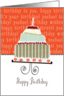 Happy birthday, cake, cherries & candle card