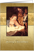 Merry Christmas, nativity, Christmas card, gold effect card