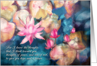 water lilies, get well soon, Christian encouragement scripture card