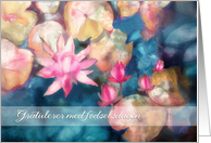 Happy Birthday in Norwegian, water lillies, watercolor painting card