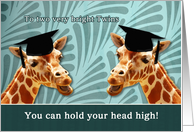 To two bright twins, congratulations on graduating, giraffes card