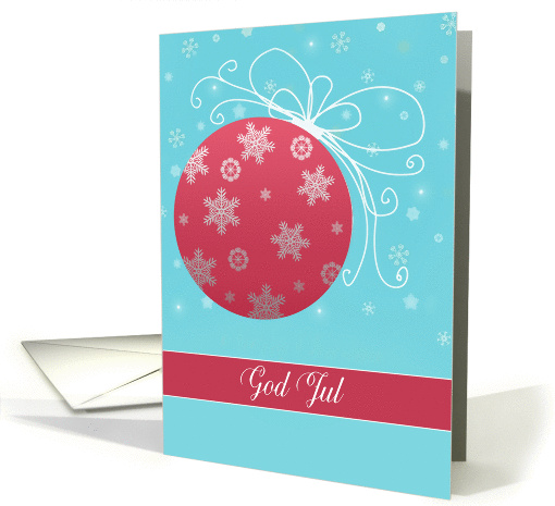 God Jul, Merry Christmas in Norwegian, red and white ornament card
