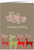 merry christmas and happy birthday reindeers kraft paper effect card - Merry Christmas And Happy Birthday