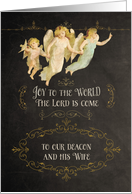 To our deacon and his wife, angels, chalkboard effect card